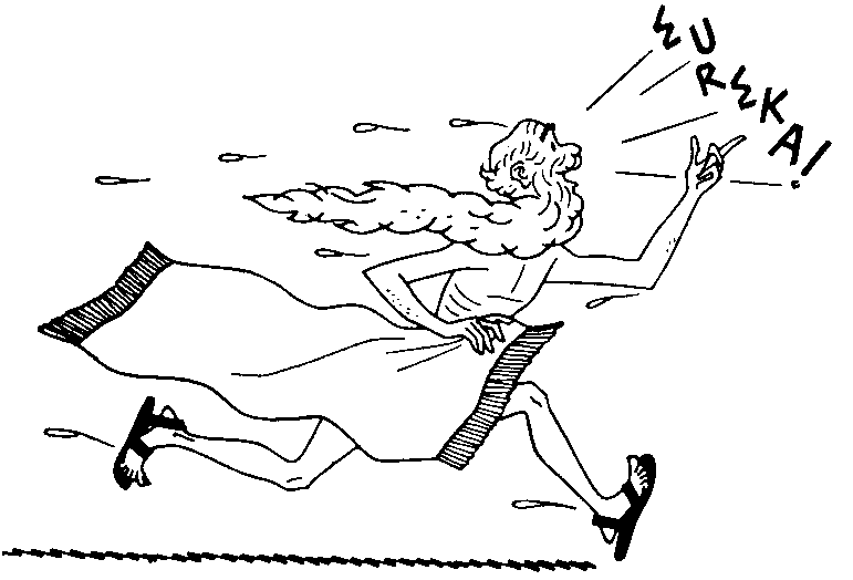 Archimede corre nudo esclamando Eureka!